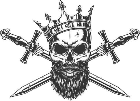 Vintage monochrome king skull in crown
