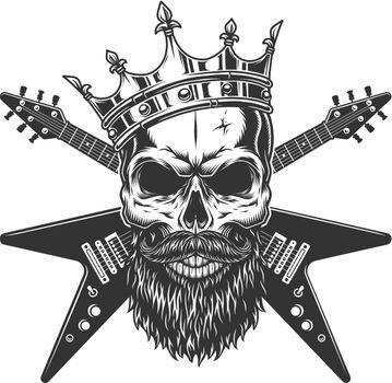 Vintage rock star skull in crown