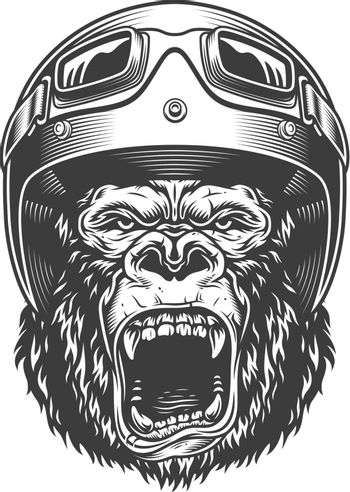 Angry gorilla in monochrome style