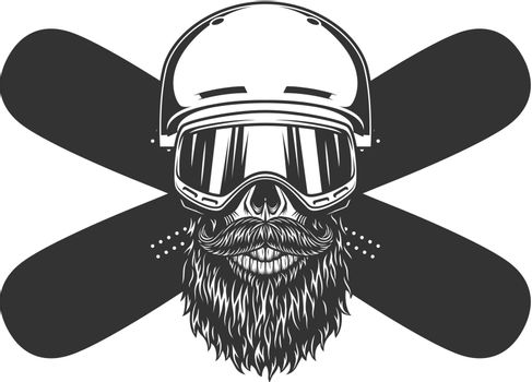 Vintage bearded and mustached snowboarder skull