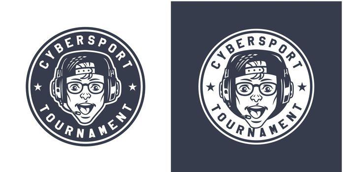 Vintage monochrome gaming round logo