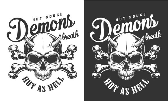 Vintage monochrome demon skull logotype