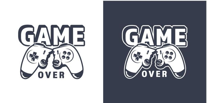Broken video game joystick emblem