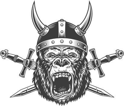 Angry gorilla head in horned viking helmet