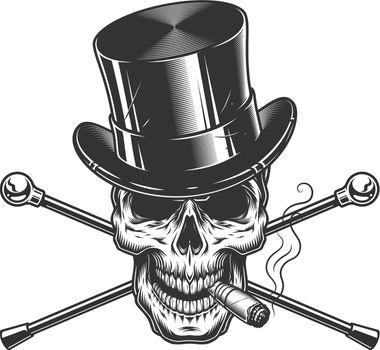 Vintage monochrome gentleman skull smoking cigar