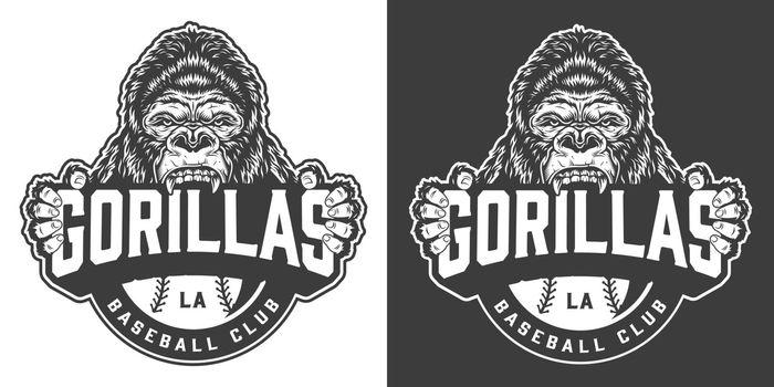Vintage gorillas baseball club logotype