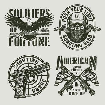 Vintage monochrome military logos