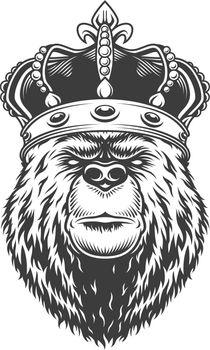 Vintage bear head in royal crown