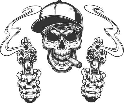 Skull smoking cigar in baseball cap