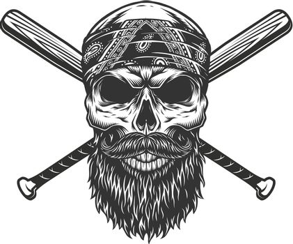 Vintage bearded and mustached bandit skull