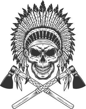 Vintage monochrome indian chief skull