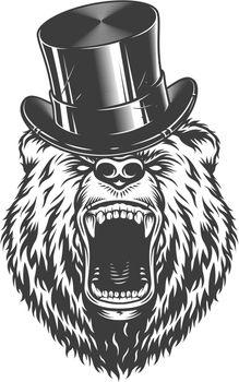 Vintage gentleman angry bear head