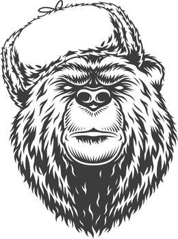 Vintage monochrome serious russian bear