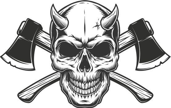 Vintage demon skull with horns