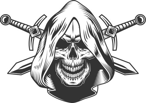 Vintage monochrome skull in hood