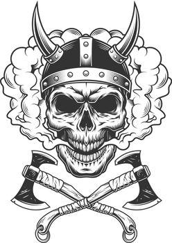 Viking skull wearing horned helmet