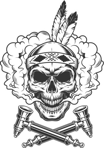 Native indian warrior skull with feathers