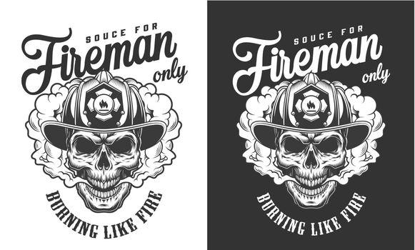 Vintage skull wearing fireman helmet badge