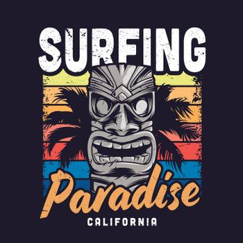 Vintage colorful surfing paradise template