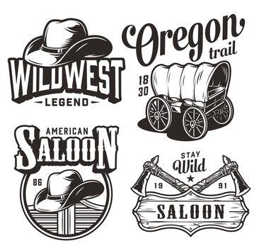 Vintage wild west emblems set
