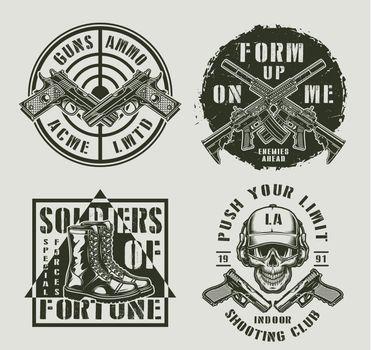 Vintage military monochrome prints