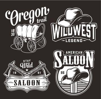 Monochrome wild west vintage prints