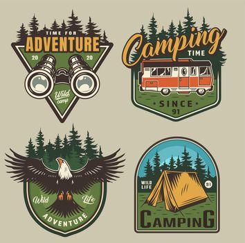 Vintage outdoor recreation colorful logos
