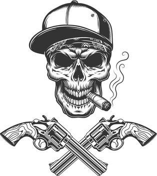 Vintage monochrome bandit skull smoking cigar