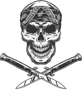 Vintage bandit skull in bandana