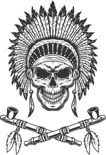 Vintage native american indian chief skull