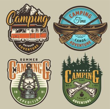 Vintage summer recreation colorful logos