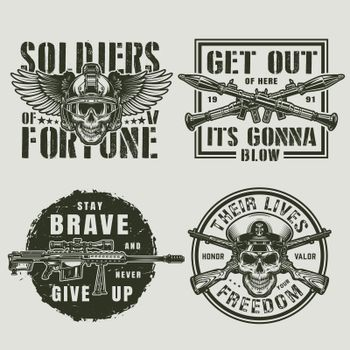 Vintage military and army emblems