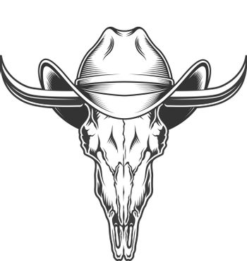 goat skull with horns and cowboy hat