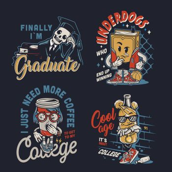 Vintage college funny characters labels