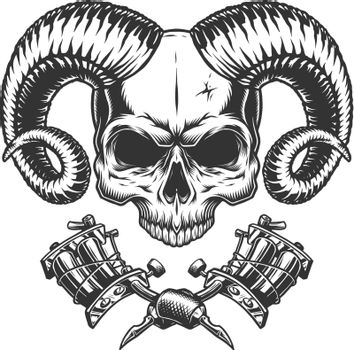 Scary demon skull without jaw