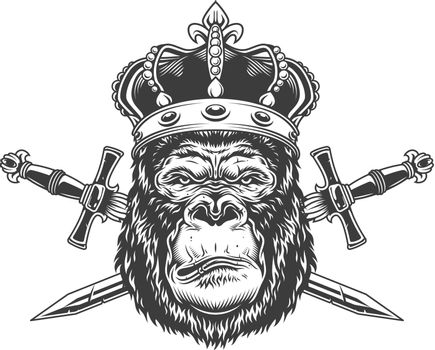 Vintage serious gorilla head in crown