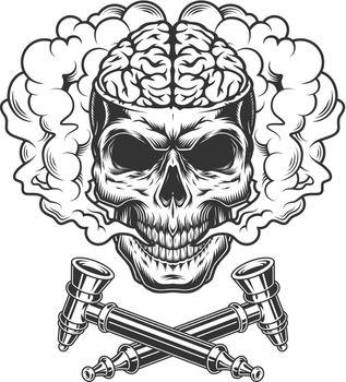 Vintage skull with human brain