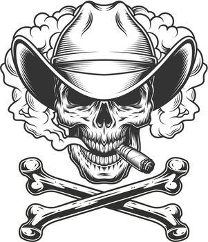 Cowboy skull smoking cigar