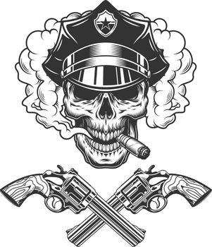 Skull in police hat smoking cigar