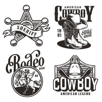 Vintage monochrome wild west emblems