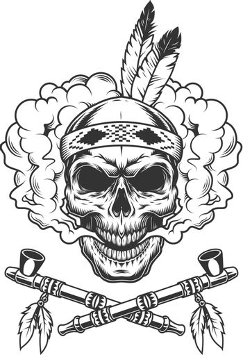 Vintage indian warrior skull with feathers