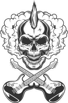 Rocker skull with mohawk