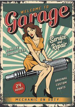 Vintage garage repair service colorful poster