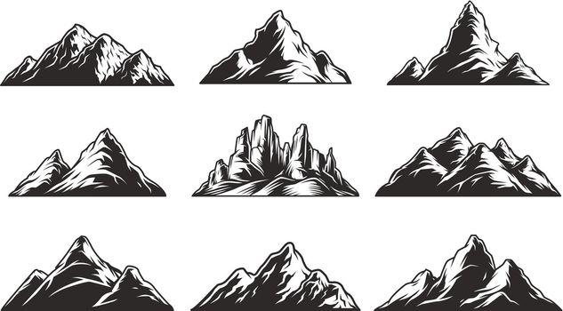 Vintage monochrome mountain landscapes set