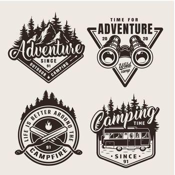 Vintage monochrome summer adventure emblems