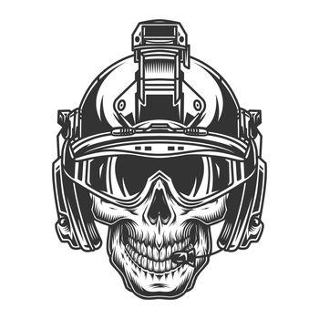 Skull in modern military helmet