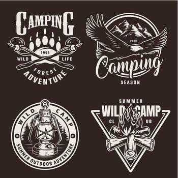 Vintage monochrome camping badges