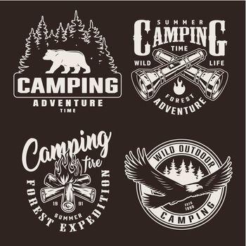 Vintage monochrome summer adventure badges