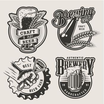 Vintage brewing emblems set