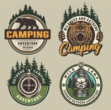 Vintage colorful camping badges